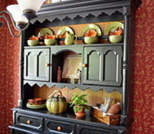 fall ification, seasonal holiday decor, The hutch in the kitchen now looks appropriate for the season