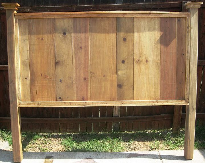 Old barn wood style headboard made for a king size bed.