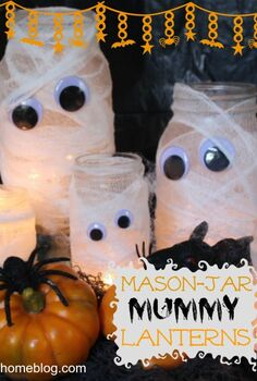 mason jar mummy lanterns, crafts, halloween decorations, mason jars, seasonal holiday decor, Mason Jar and smaller jars are the perfect size for this family of Mummy Lanterns