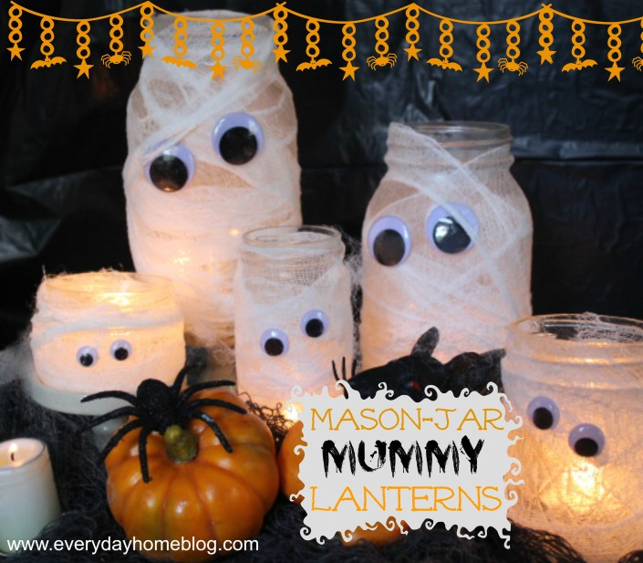 Mason Jar and smaller jars are the perfect size for this family of Mummy Lanterns.