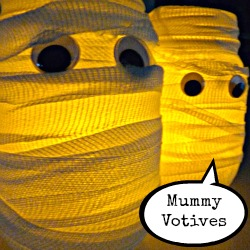 I've come undone over these mummy votives! http://eclecticallyvintage.com/2012/10/enter-if-you-dare-halloween-house-tour/