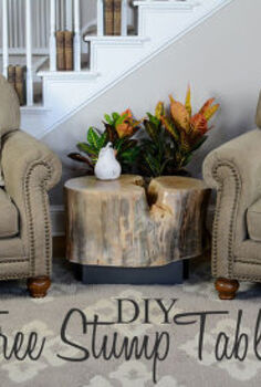 diy tree stump table an ellen show knock off, diy, how to, painted furniture, repurposing upcycling, rustic furniture, woodworking projects, The Husband made this rustic tree stump table with the stump from a gorgeous River Birch we had to have cut down last spring