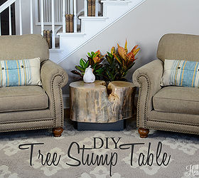 Diy Tree Stump Table An Ellen Show Knock Off, Diy, How To, Painted