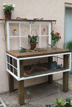 vintage tool potting bench, gardening, painted furniture, repurposing upcycling, rustic furniture