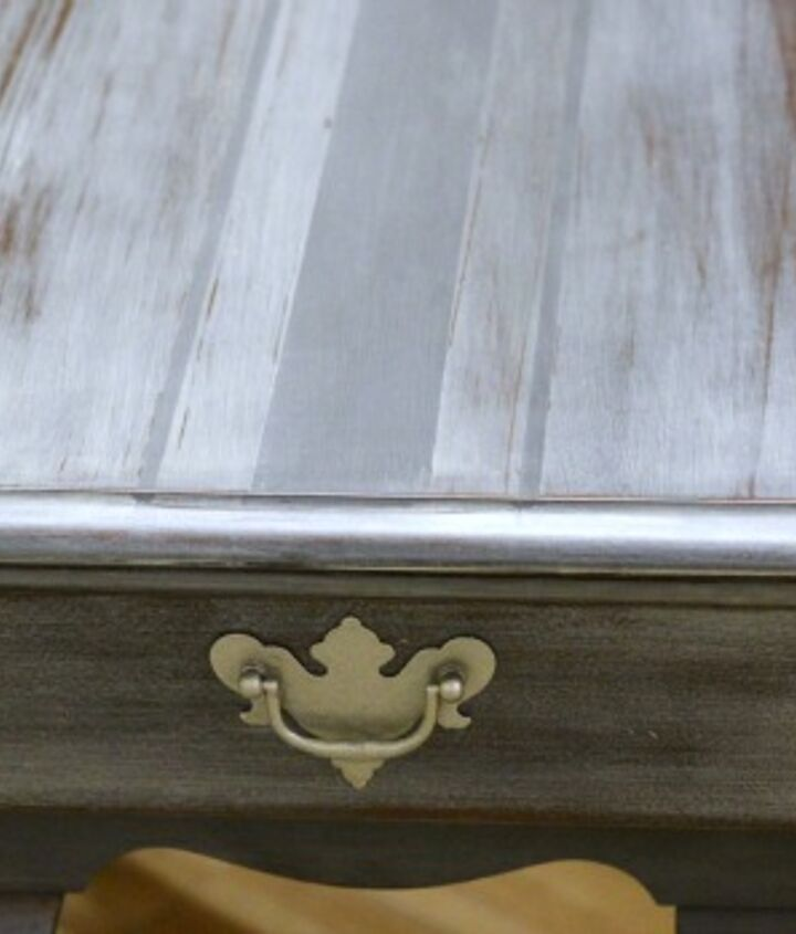 Closeup of French Grain Sack end table painted in Graphite and Hurricane Chalk Paint