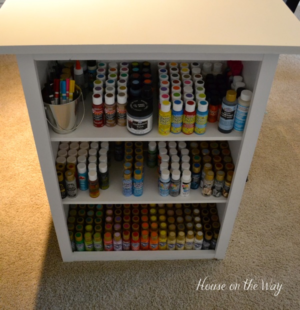 The other side of the table holds my craft paint.