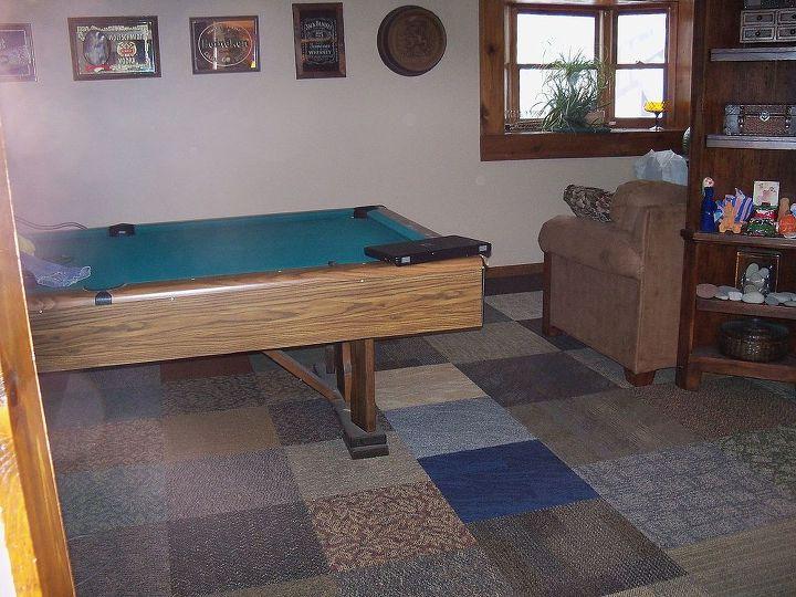 carpet squares in basement, basement ideas, flooring, home decor