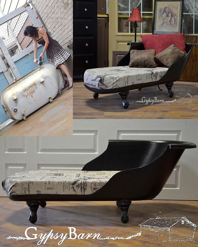 clawfoot tub to chaise lounge, painted furniture, repurposing upcycling, A nice little compilation shot ideal for pinners There is a full album being uploaded right now to my Facebook page at Come join the fun