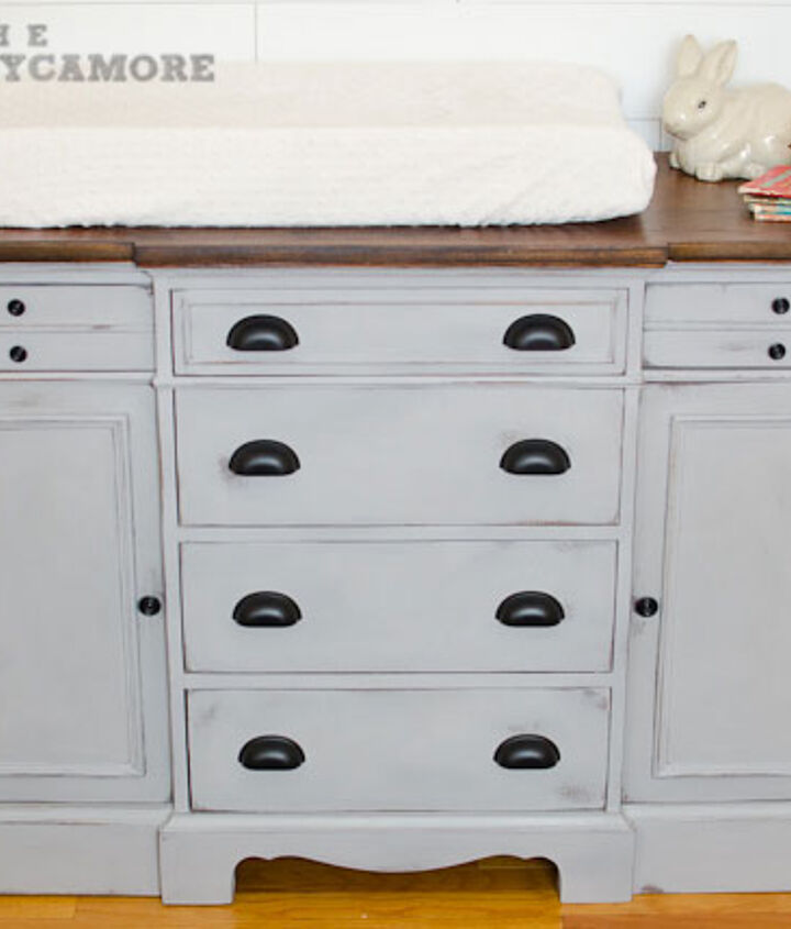 This dresser had a peeling crackle paint job before I got my hands on it.  It desperately needed a facelift.  The whole thing got stripped down and then the top got stained and the body got painted with ASCP Paris Grey.