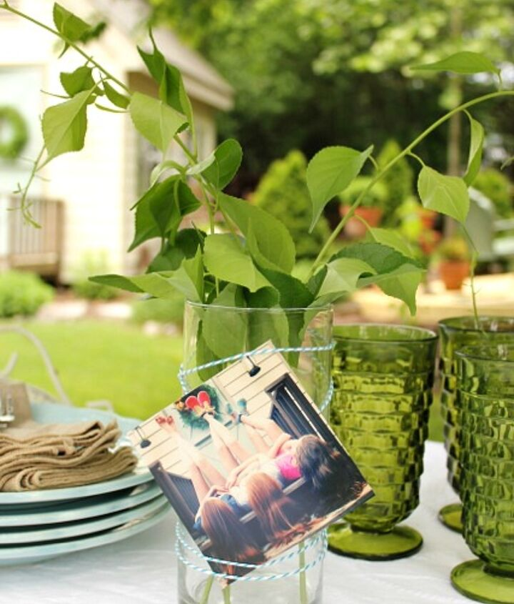 Print your Instagram pictures and secure them to the vase with baker's twine.  Fun for a bridal shower!
