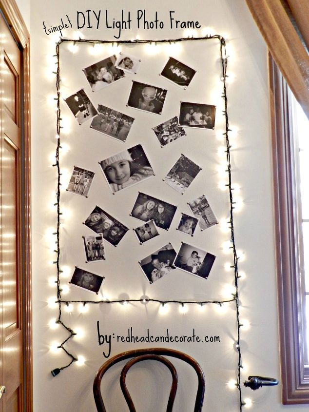 simple diy light photo frame, crafts, She can easily add to it over the years
