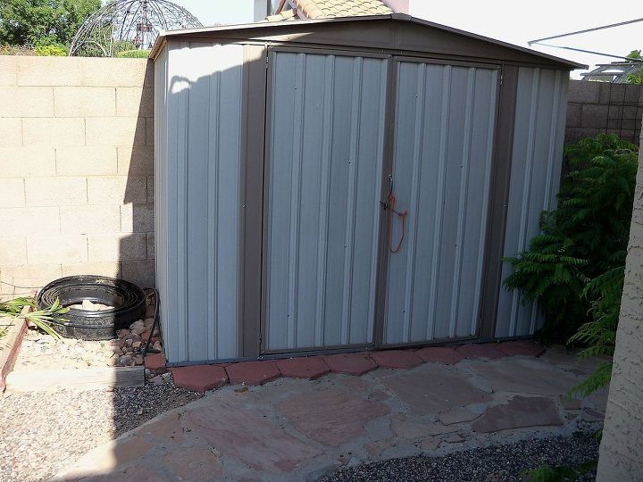 q advice on beautifying a metal garden shed, outdoor living