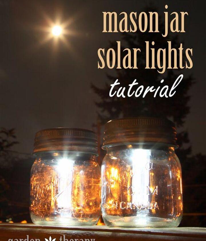 mason jar solar lights, crafts, mason jars, outdoor living