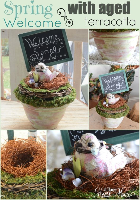 spring welcome for michaels hometalk pinterest party, chalkboard paint, crafts, easter decorations, seasonal holiday decor, wreaths, Are you ready for spring Aged terra cotta moss and a little chalk board sign come together easily to make this cute Spring Welcome