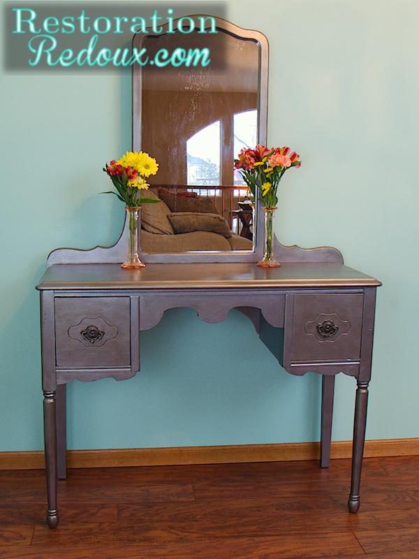 vintage silver vanity, painted furniture