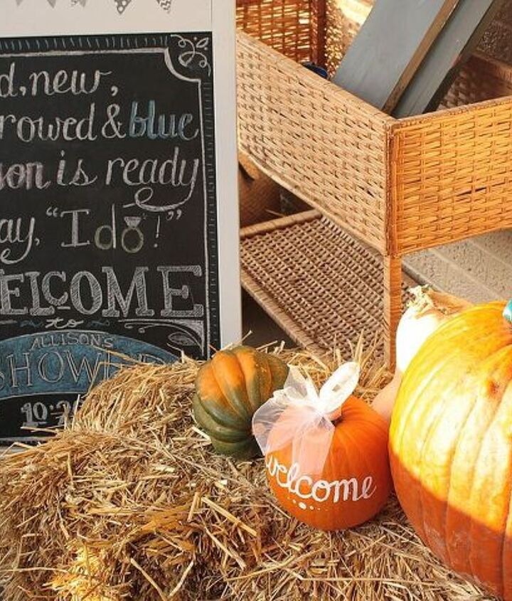 A fall shower meant seasonal decor out on the front porch, dolled up for the occasion, and a chalkboard with a special message.