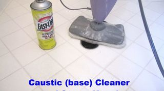 q bathroom deep cleaning time professional cleaners vs homeowners, bathroom ideas, cleaning tips, In this Round I decided to use the opposite of an Acid Cleaner which is a Base or also called a Caustic Cleaner I chose Easy Off Oven Cleaner See SAFETY PRECAUTIONS above Surprisingly it did help remove some of the embedded dirt