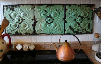 Make a fresh back splash with old ceiling tiles.