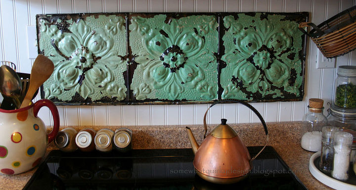 make a fresh back splash with old ceiling tiles, kitchen backsplashes, tiling, Above the stove