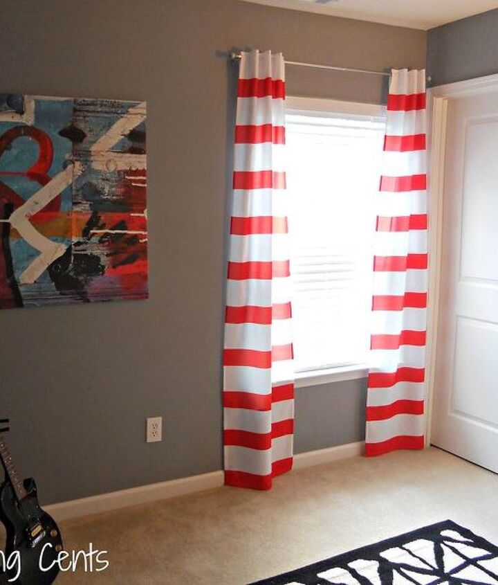 striped curtains from shower curtains, home decor, reupholster, window treatments, windows