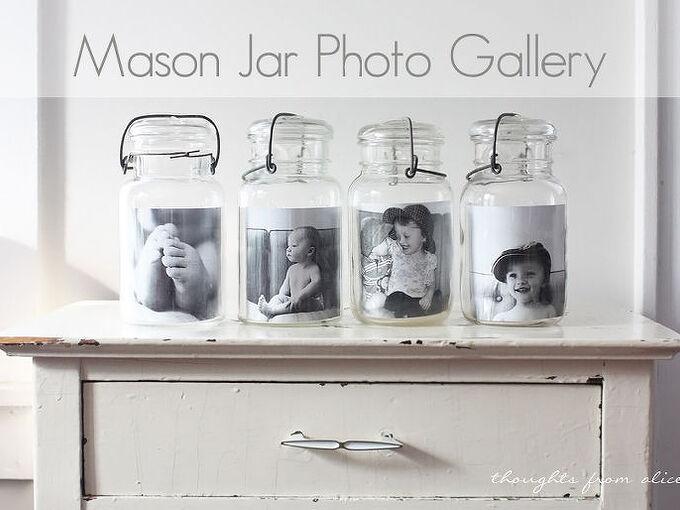 mason jar photo gallery, crafts, home decor, mason jars, repurposing upcycling, Mason Jar Photo Gallery