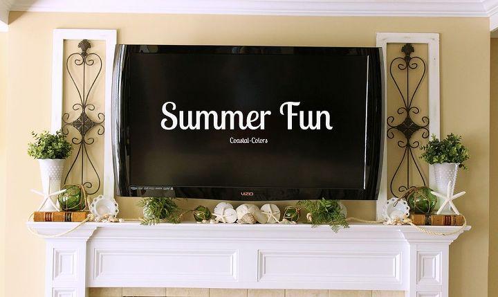 summer mantel, fireplaces mantels, home decor, living room ideas, seasonal holiday decor