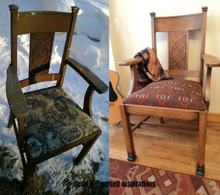 redoing a vintage chair to match another, painted furniture