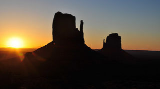 , The mitten buttes at dawn in Monument valley