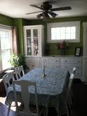 dining room, dining room ideas, painting, mixing blues with my bright apple green dining room