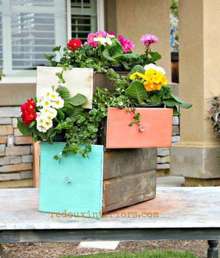 Painted in CeCe Caldwells Santa Fe Turquoise, Kailua Coral and Vintage White. There are endless ways to use metal drawers for planters.
