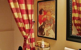 my french country guest bath, bathroom ideas, home decor, To add French country style to my bathroom I used a pair of floor to ceiling buffalo check drapery panels as the shower curtain with a liner behind them of course A frenchy print and a transferware plate add to the look