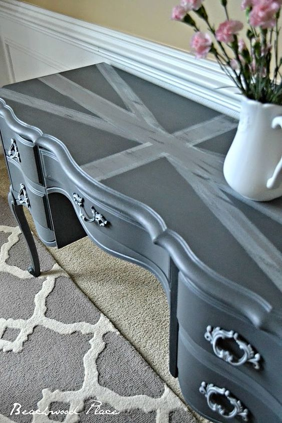 french provincial desk makeover, chalk paint, painted furniture