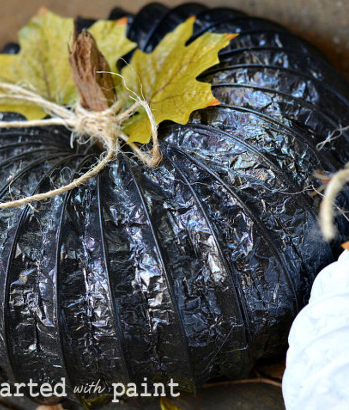 Pumpkin made from dryer vents and spray painted black