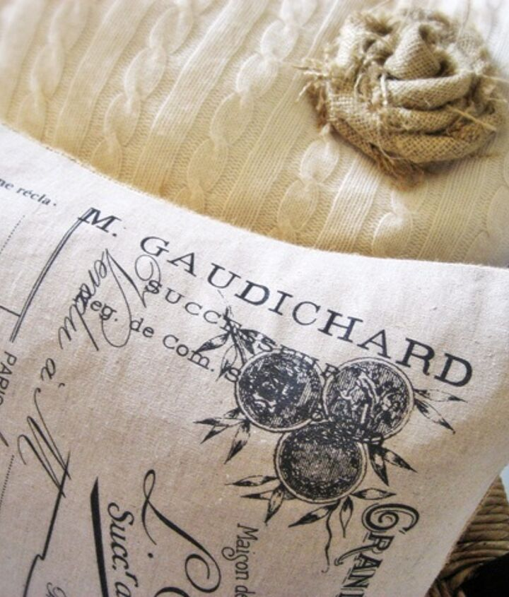 easy vintage french pillow made from a tea towel, crafts, home decor