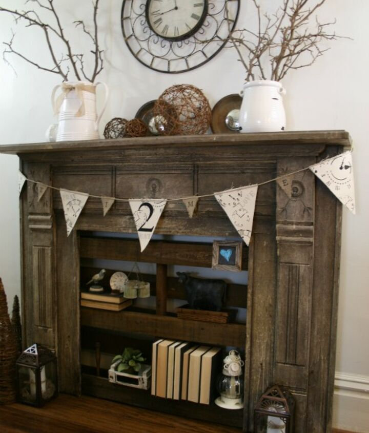 old mantel/fireplace surround with pallet shelving