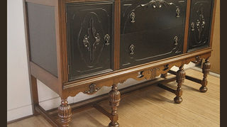 am i the only one, painted furniture, Walnut sideboard refinished and painted with black satin oil paint