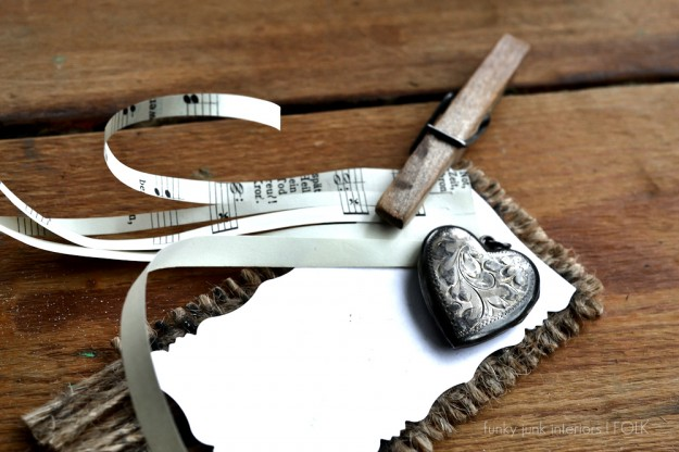 cute gift tags with costume jewelry and scraps, crafts, A darling tag can be created in minutes with just a few scraps and a pretty piece of jewelry such as a heart locket