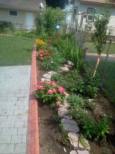 This started out with a clean slate.....nothing was there after all the bushes were removed. After I had the cobblestone walkway put in, I went to work on the plantings.  I still have to plant the flowering trees and sink the stones.