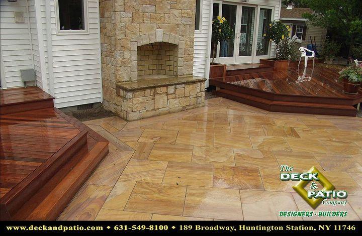 Mahogany deck and rainbow stone patio