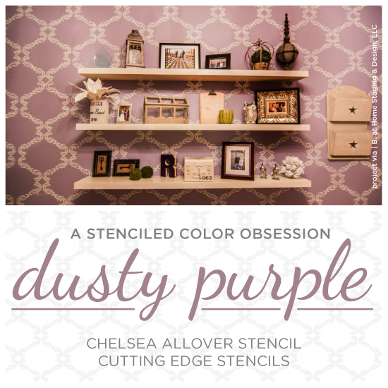 a stenciled color obsession dusty purple, craft rooms, diy, home decor, home office, painting, storage ideas, wall decor, Chelsea Allover Stencil used on an accent wall in a purple home office done by B at Home Staging Design LLC