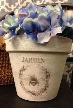how to make this cute terra cotta pot using a stencil transfer, crafts, gardening, painting