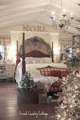 Bedroom decorated for Christmas