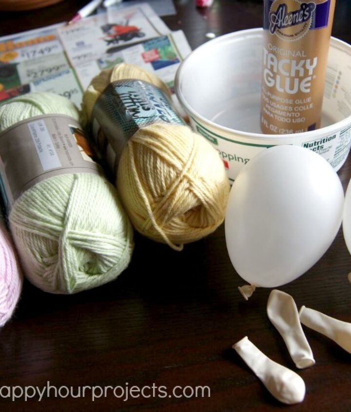 easter yarn eggs, crafts, easter decorations, seasonal holiday decor