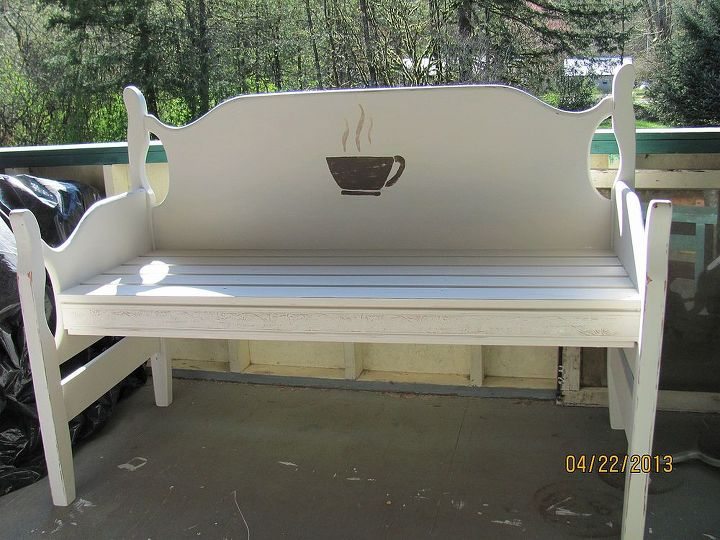 """Since it is a full size, I shortened the footboard pieces by 4"""" each when I cut the footboard in half.  A little exterior paint, a bit of sanding, and a clear coat to preserve it.  All paint was left over from our home."""