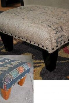 diy coffee sack ottoman, painted furniture, Before and after of the ottoman