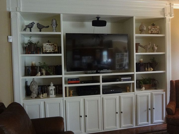 custom built entertainment center, diy, kitchen cabinets, living room ideas, painted furniture, shelving ideas, Finished after about three months of working off and on during the weekends
