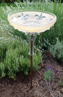 repurposed glass light shades, gardening, repurposing upcycling, Vintage glass light shade now a birdbath
