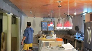 q what to do with our livingroom ceiling, diy, home decor, home maintenance repairs, living room ideas, paint colors, Prepping the old kitchen ceiling for the new plaster