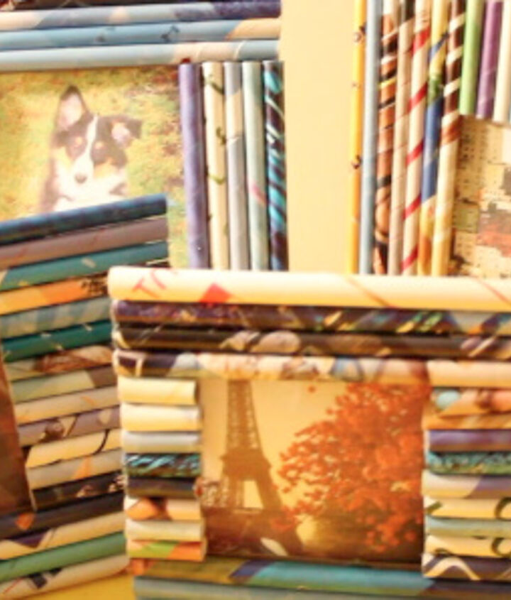 Photo frames made from recycled boxes and magazines.