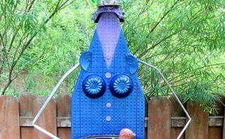 diy ironing board garden junk art woman, crafts, gardening, repurposing upcycling, See the coffee pot head